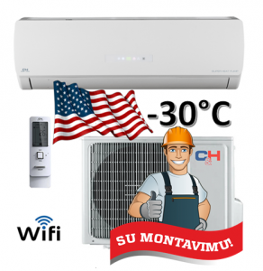 Oro kondicionierius/šilumos siurblys oras-oras ICY inverter CH-S24FTXTB2S-W (-30°C) su montavimo darbais!