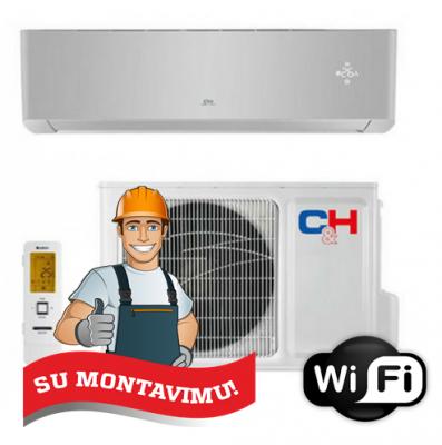 Oro kondicionierius/šilumos siurblys C&H SUPREME SILVER CH-S09FTXAM2S-SC (-30°C) su montavimu!